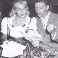 Lana Turner and Frank Sinatra preparing to give a radio performance