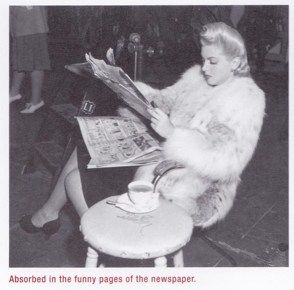 "Lana Turner on the set of ""Johnny Eager"" reading a newspaper"