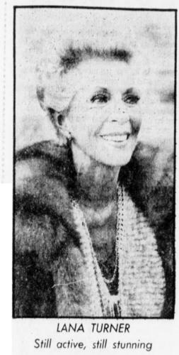 Lana Turner - Santa Cruz Sentinel 1982