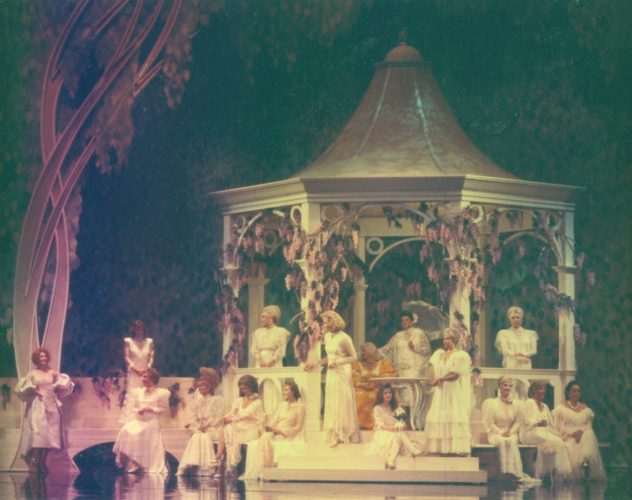 Lana Turner on gazebo with 17 other stars